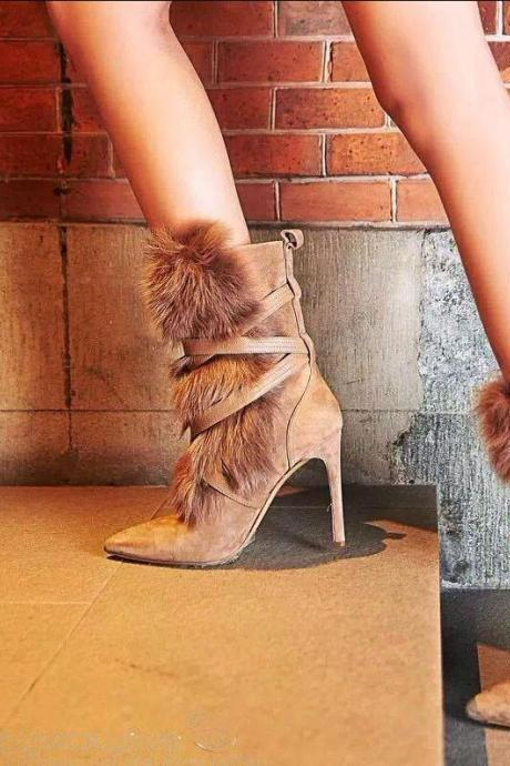 European Style Fur Boots Women Winter Shoes Boots Plush Lining High Heels Fashion Cross-Belt Mid-calf Boots