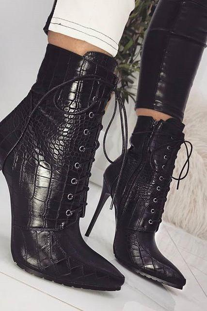 Women Ankle Spring/Autumn Boots PU Leather Pattern Pointed Toe Lace Up Thin High Heels Shoes Sexy Fashion Chelsea Boots