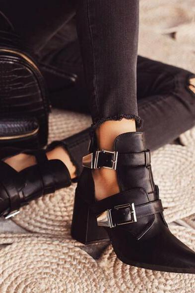 Ankle Boots Martin Boots Heel Shoes Sandals Rivet New Fashion Buckle Plus Size Size Female Zapatos De Mujer