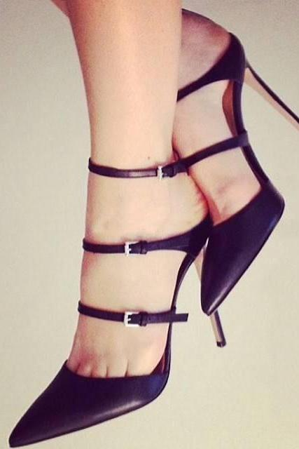 Ankle Straps Pointed Toe Stiletto High Heels