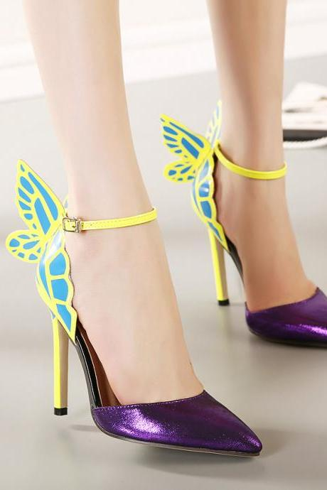 JOJO cat 100% high quality 2015 Spring European Women personality wedding high heels woman Colorful butterfly pointed toe sandals Valentine's bow party bridal pumps shoes zapatos tacones de mujer A8-9