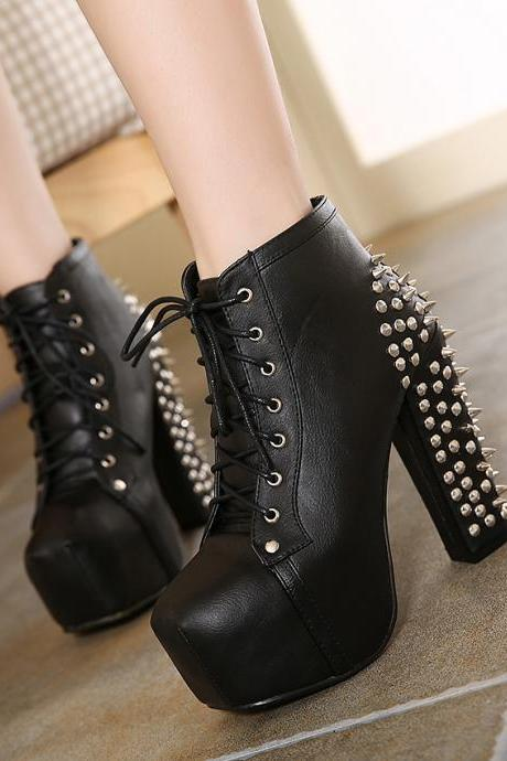 JOJO cat high quality 2016 hot cake woman punk rivets lita boots women's lace-up winter platform short booties female ankle high-heeled Motorcycle shoes 456-3