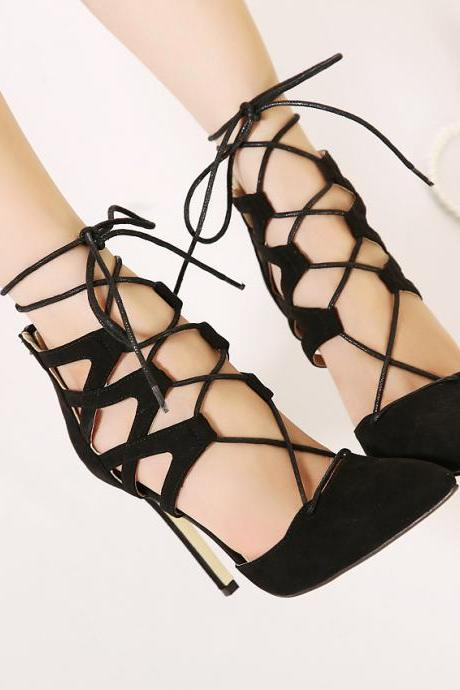 jojo cat 100% top quality 2016 new European&British style Women love lace-up personality bandage wedding high heels woman Flock leather Hollow out pointed toe evening high heeled shoes Valentine's novelty party bridal nude platform pumps shoes zapatos tacones de mujer drop shipping 200-1