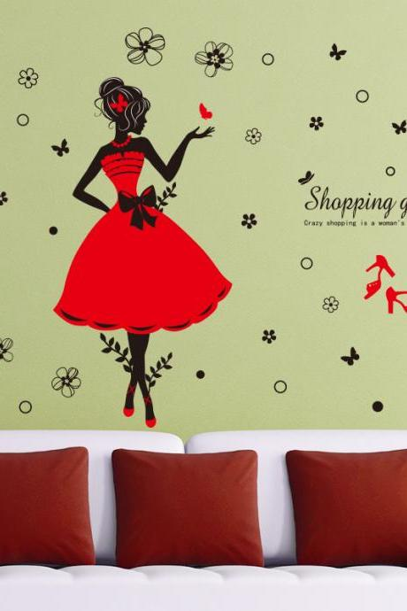 Amazon Ebay hot selling 2016 New Arrival Removable Sofa TV bedroom background wall decoration painted Fashion shopping girl decorative wall stickers Mural PVC Home Decor Creative Bedroom TV background wall decoration stickers Pegatinas de pared decoración de hogar XL6039