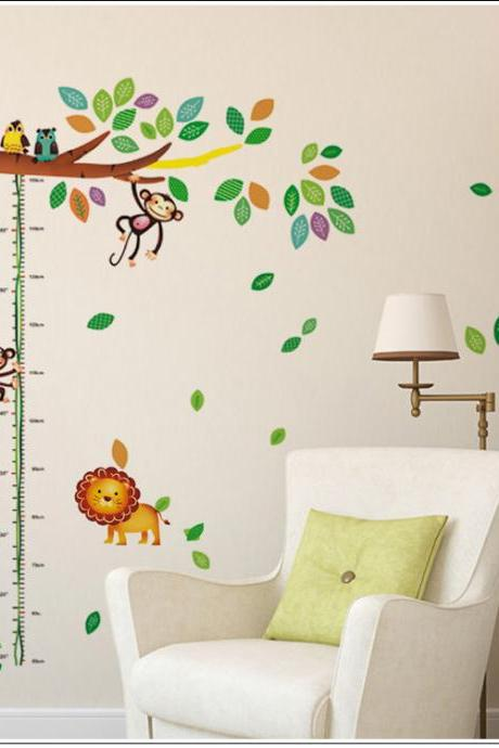 DLX6028 Drop Shipping 2015 New Arrival Removable wall stickers Mural PVC Home Decor Creative Bedroom TV background Cartoon giraffe monkey tree height stick bedroom kindergarten background wall stickerswall stickers wall decoration stickers Decoración Del Hogar