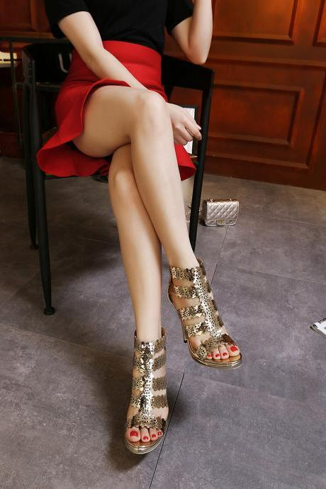 European 2016 Luxury simple Crisscross T-Strap bandage sequins gold cutouts wedding heels sandals for girls women summer suede vintage fashion open toe Hollow evening sandal high heeled shoes Valentine's novelty party bridal nude platform pumps sandalias shoes zapatos tacones de mujer 1063-3