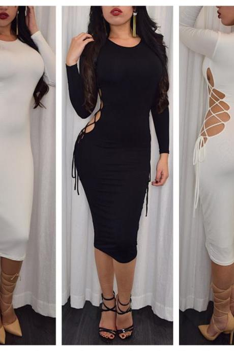 Ebay Hot 2016 European Spring women love Long sleeve autumn winter Sexy O-neck Hollow Out Bandage night-Club Dress Slim Pencil Midi Bodycon party dress women tank summer package hip skirt dresses vestido de las mujeres VD8117