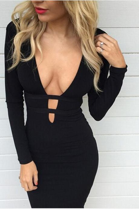 Ebay Hot 2016 European women love Long sleeve autumn winter Sexy V-neck Hollow Out Bandage night-Club Dress Slim Pencil Midi Bodycon party dress women tank summer package hip skirt dresses vestido de las mujeres VD8076