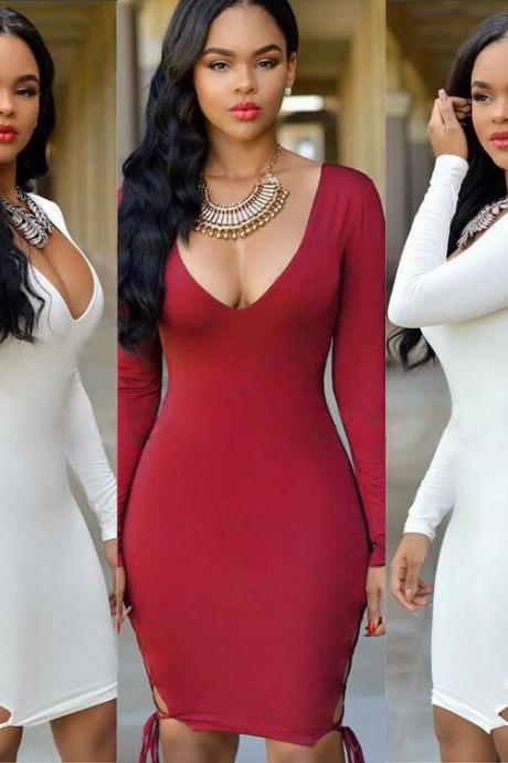 High quality 2016 Women Elegant Long Sleeve Sexy V-neck Hollow bandage Slim Dress for wedding party woman Bodycon evening Dresses Fashion Spring Autumn Style One Piece Casual Clothing Women's Clubwear Midi Vestidos VD8118