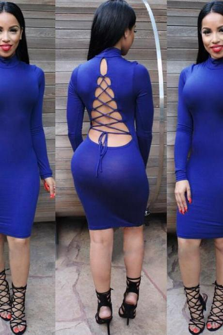 High quality 2016 Women Elegant Long Sleeve Sexy Hollow Backless bandage Slim Dress for wedding party woman Bodycon evening Dresses Fashion Spring Autumn Style One Piece Casual Clothing Women's Clubwear Midi Vestidos VD8095