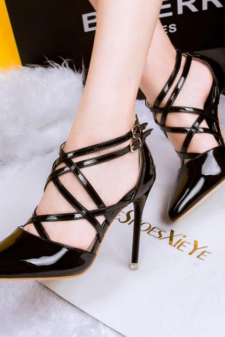 Pointed-Toe Strappy Crisscross Stilettos, High Heels
