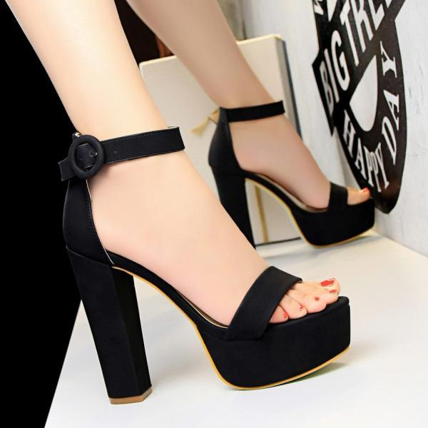 Chunky Heel Platform Sandals with Round Buckle on Ankle Strap