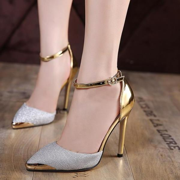 Pointed Toe Shimmery High Heel Pumps with Metallic Finish- Gold / Silver