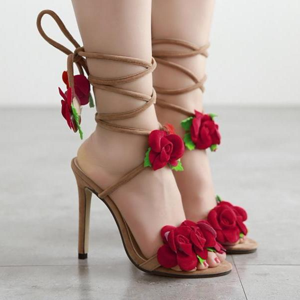 Red Roses High Heels Sandals With Lace Up Straps