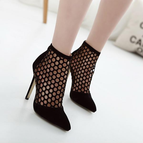 European 2016 woman love Rome style sexy cutouts hollow bandage wedding heels sandals for girls women summer suede vintage fashion pointed toe suede Flock leather evening sandal high heeled zipper punk boots shoes novelty party bridal nude platform pumps sandalias shoes zapatos de mujer A317-89