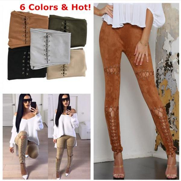 Gonice 2017 High Quality NEW Women's Deerskin Leather Hollow outs Bandage Casual Long Pants Woman High Waist Crochet Handknit Long Sleeve Slim Trousers VD5003