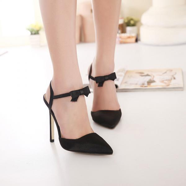 Pointed Toe Ribbon High Heel Pumps - Black / Pink