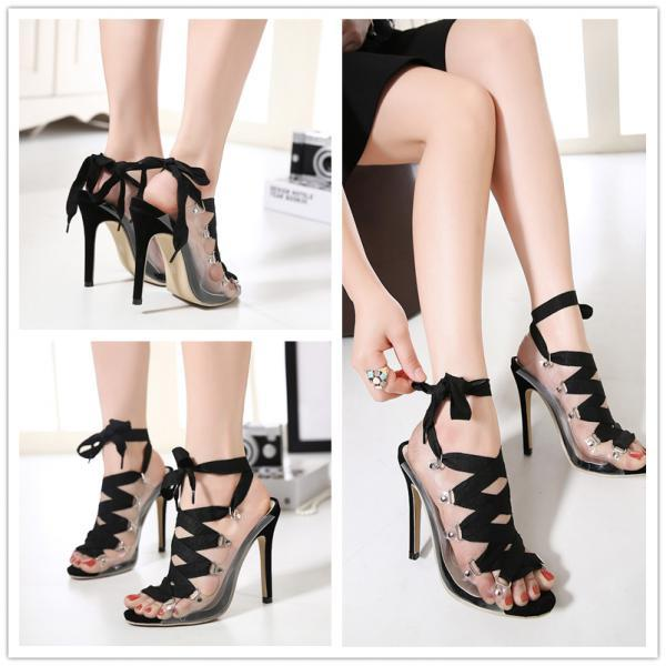 2016 spring summer hot in European women suede open toe desigual hollow bandage high-heeled personality wedding high heel sandal shoes woman sexy nude platform club party pumps Girls fish head Valentine's bridal evening plus size shoes zapatos tacones de mujer A6-32