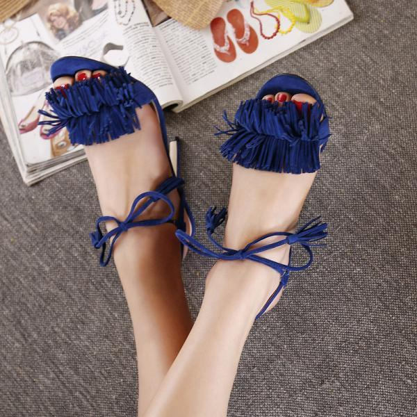European 2016 cute simple Crisscross T-Strap bandage fringe wedding heels sandals for girls women summer suede vintage fashion open toe Flock leather tassel evening sandal high heeled shoes Valentine's novelty party bridal nude platform pumps sandalias shoes zapatos tacones de mujer 726- 6