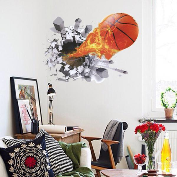 Amazon Ebay hot selling 2016 New Arrival Removable Sofa TV bedroom background wall decoration 3D dimensional effect basketball breaking wall stickers Mural PVC Home Decor Creative Bedroom TV background wall decoration stickers Pegatinas de pared decoración de hogar LC7004