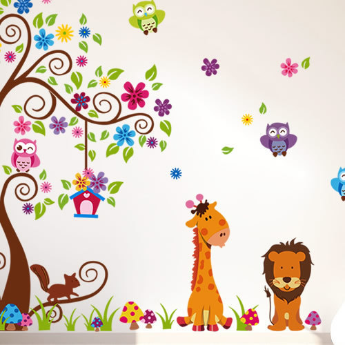 JM7251AB Drop Shipping 2015 New Arrival Creative Removable children's room Owl animal tree decoration wall stickers Mural PVC Home Decor Wall Stickeres Creative Bedroom Sofa TV background wall stickers wall decoration stickers creative wallpaper Stickeres Decoración Del Hogar