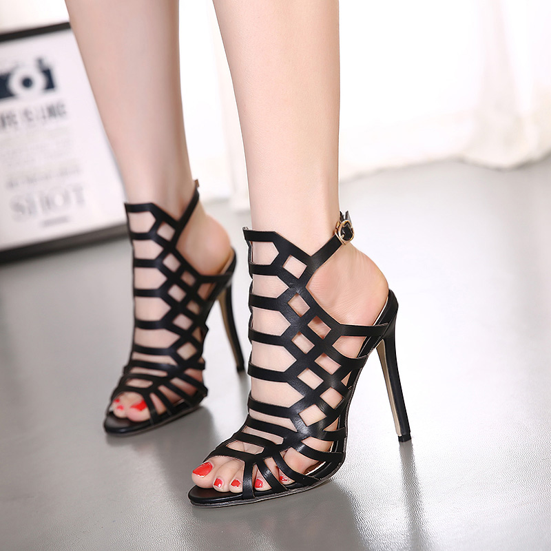 5fc577bec9a Hollow Cut Out High Heels Stiletto Sandals Shoes